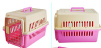 Wholesale 2014 New Popular pink green color choose Pet Dog Cat Plastic door Kennel Travel Crate Cage Small Flight Transport Carrier