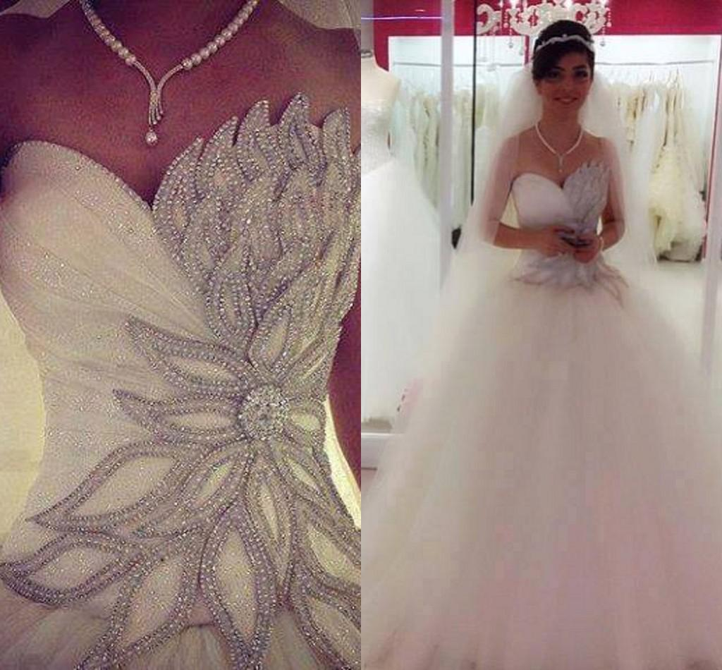 2015 Sexy Bling Bling Church Wedding Dresses Sweetheart Beaded ...