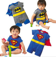 batman costume video - Batman romper Baby romper Cotton Superman rompers boys costumes Jumpsuits Toddlers bodysuits tights