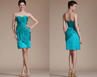 Wholesale 2014 Stylish Sweetheart Sheath Knee Length Light Sky Blue Crepe Hand Made Flowers Ruched Cocktail Dress Custom Made Attractive Cocktail Gown