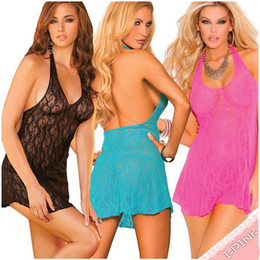 Wholesale New arrival Sexy women lace halter babydoll lingerie Women s lace intimates underwear nightgown pajamas