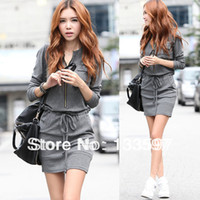 Wholesale 2014 autumn Zipper Pocket Long Sleeve Loose Round Collar Gray Casual Women Mini Winter Warm Dress For fashion clothing