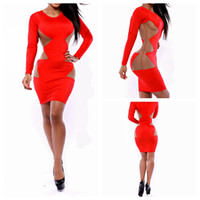 Bodycon Dresses western wear - Women club dress sexy bodycon dress long sleeve hollow out western pattern hot sexy girls wear two colors in three sizes A340