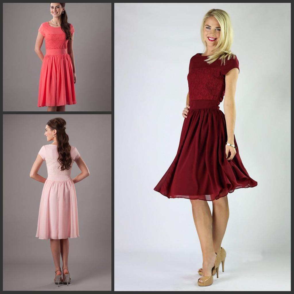 Modest Red Short Sleeve Bridesmaid Dress A Line Crew Neck