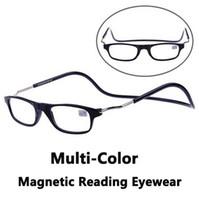 Wholesale Magnetic Reading Glasses Hanging Folding Reading Eyewear Adjustable Spectacles Multi color