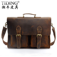 class a bags - A Class CRAZY HORSE Leather Briefcase Hand Made Men s Messenger Bag Laptop Hand Bags LT09
