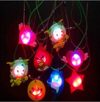 Wholesale Cut Soft Rubber LED Glow Necklace Cartoon Styles Pendant For Kids Game Toys Birthday Christmas Toy Supplies