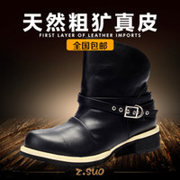 Half Boots Martin Boots PU Zousuo Spring tide men's leather boots Martin boots male British men's high-top boots tide shoes men ZS0606