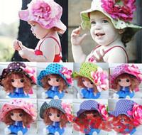 Beanie/Skull Cap Sun Hats Floral 1PCS 2014 Free Shipping Children Girls Big Flower Bucket Hats Baby Toddler Cotton Fisherman Cap Sun Hats Girl Hat EJ870124