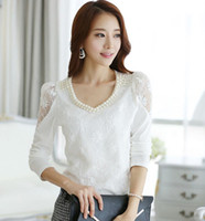 Women V-Neck Regular Autumn 2014 new long sleeve lace stitching v-neck white blouse fashion European women big size t-shirt Size:S-XXL