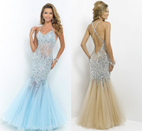 pink mermaid prom dresses - Sheer See through Prom Dresses Mermaid Backless Bling Bling Silver Sequins with Crystals Light Sky Blue Champagne Pink Mint green Evening
