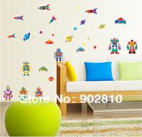 alien list - listed in stock boy room Wall Stickers Cartoon Robots space alien Art Wall decal