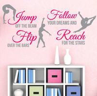 New 2014 2-Color Gymnastics Dance GIRLS SPORT Vinyl Wall Decor Mural Quote Decal Saying Wall Stickers Home Decor