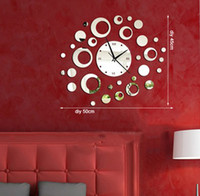 Mechanical Wall Clocks Yes [listed in stock]-Free Shipping 50*45cm (19.7*17.7in) Modern Creative Quartz Stylish Silent Rings Decorative Mirror Wall Clock