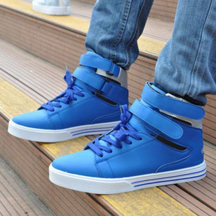 men casual velcro skateboarding shoes fashion sport high