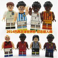 Wholesale 8pcs Building Bricks Blocks World Cup Football Player Figure Pirlo Ronaldo Neymar Messi Xavi action mini figures children toys