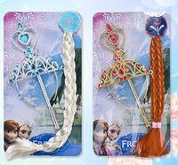 Wholesale Frozen Princess Elsa Headgear Accessories Set Magic Wand Wig Crown Cartoon Girls Headgear Sets