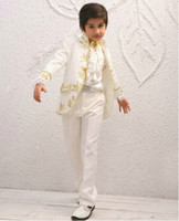 Wholesale CUstom Made Size and Color Kid Embroidery Suits Boy Wedding Suit Boys Mandarin Collar Jacket Pants Tie Girdle