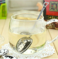 Wholesale 20pcs Stainless Steel Heart Shaped Tea Herb Leaves Infuser Strainer Filter Spoon Wedding Party Gift Favor New WF001