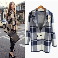 Wholesale New British women s grid style loose knitting cardigan coat