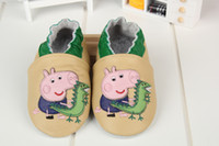 Wholesale autumn peppa pig baby shoes first walker shoes genuine cow leather baby moccasins bebe todder shoes handmade shoes tenis infantil colors