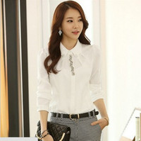 Turn-down Collar shirt puff sleeve - New autumn blouse shirts women clothing white shirt chiffon blouse women work wear tops for women CS4512