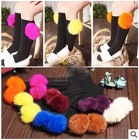 Wholesale Autumn New Arrival Fuzzy Ball Pattern Children s Socks Candy Color Bowknot Pattern mid calf Length Sock For Girls