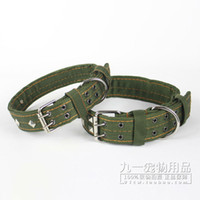 big black security - Nylon reflective Large Dog collar Night security Big Pet collar Double breasted strong dog traction Army green