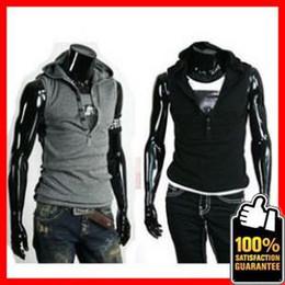 Wholesale Summer Men s Sleeveless Hoody Vest Top T shirt Hoody Flexible CVC Sanded fabric G354