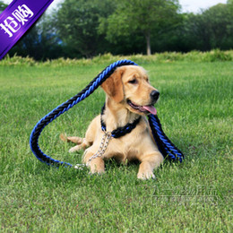Wholesale Large Pet dog collar and harness strands of nylon knitting Pet traction rope Automatic shrink collar for dogs colors M L XL