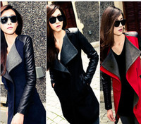 2014 Fall Plus Size Wholesale Fashion Patchwork Womens Long Warm Wool PU Leather Sleeve Jacket Coat Windbreaker