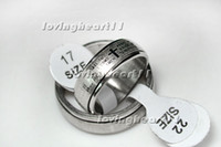 Band Rings bible lots - Rings Stainless Steel Bible Cross Silver Tone Ring Prayer Christian Cross