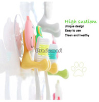 Eco-Friendly . animal toothbrush - Cute Cartoon Animal Sucker Toothbrush holder Suction hooks b008
