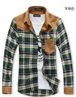 Wholesale 2014 autumn fall winter Fashion new men s shirts Korean man Slim fit Long Sleeve plaid casual shirts sd121