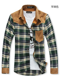 Wholesale 2014 autumn fall winter Fashion new men s shirts Korean man Slim fit Long Sleeve plaid casual shirts sd121