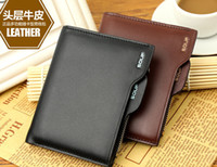 Wholesale brand fashion short design mens male natural cowhide men s wallet Genuine leather zipper wallet purse for men