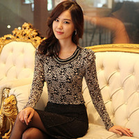 Cheap O-Neck ladies lace blouse Women Best Regular Long Sleeve blusas femininas tops