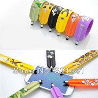 Wholesale 10pcs Camouflage Magic Wrist Band Design Universal Capacitive Stylus Touch Pen for iphone s IPad Mini Galaxy Phone
