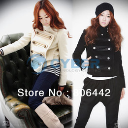 Wholesale Lady Women Short Jacket Long Sleeve Stand up Collar Double Breasted Coat Outwear