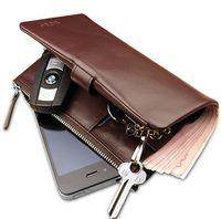 Wholesale mens brand name fashion long design versatile Cowhide Genuine leather wallet purse key wallet for men