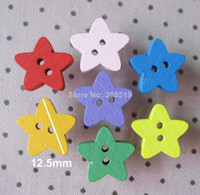 "Quilt Accessories Buttons None WB0026 Child Buttons 1 2"" star shape Mix wood buttons 200pcs lot buttons scrapbook accessories"