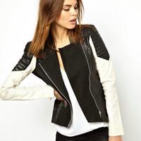 Women Stand Collar Zipper New Fashion Women Pu Leather Jacket Ladies