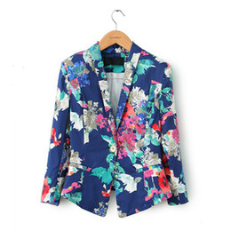 New Spring Autumn 2014 Fashion Floral Pattern Print Woman Blazer Full Sleeve Suits European American Style Free Shipping WWX112