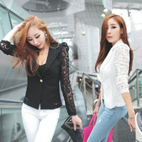 Wholesale DROPSHIPPING New Top Coat Sexy Sheer Lace Blazer Lady Suit Outwear Women OL Formal Slim Jacket Black White M L XL