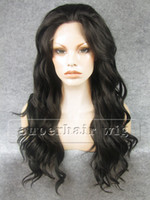 Wholesale New Gorgeous quot Long Heat Friendly Synthetic Brown Lace Front Body Wave Hair Wigs Cheap DHL Free