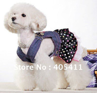 Wholesale Quality goods pet clothes fashion colorful dots dog dress and retail chiffon Jean skirt