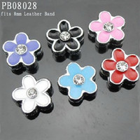 Wholesale 8mm Mixed Color Enamel Alloy Plum Charms Slider Fits mm Leather Band pc