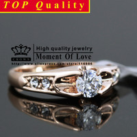 real diamond ring - K Real Rose Gold Plated italina Mounting ct Zirconia Diamond fashion Jewelry ring Retail