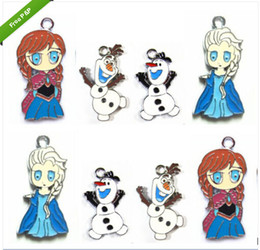 Wholesale 50 Mixed Cartoon Frozen Elsa Anna Olaf Metal Charms Jewelry Make pendants