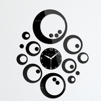Mechanical Wall Clocks Yes Decorative glass wall clock black ring - home decoration mirror wall stickers black